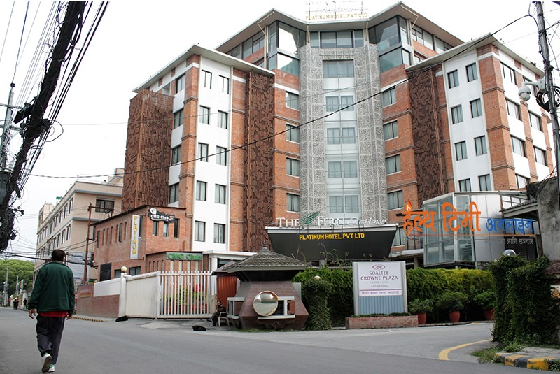 3. Entrances of the isolated Soaltee Crown Plaza and the Platinum Hotel ( star hotels in Soaltimod)